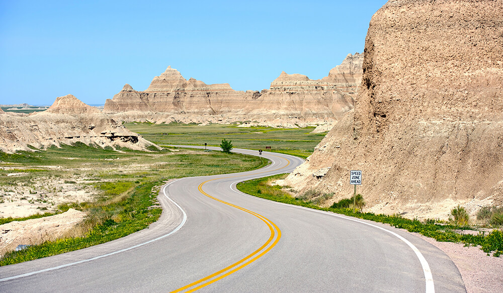 Loop Road Badlands - Curved Scenic Road Thru Badlands National Park, South Dakota USA.